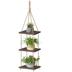 Wood Hanging Planter Shelf Plant Hanger 3 Tier